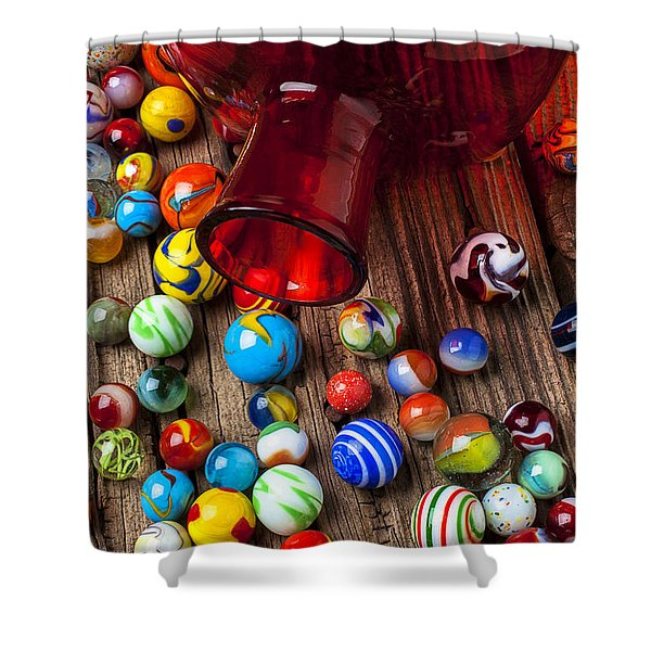 Red Jar With Marbles Shower Curtain