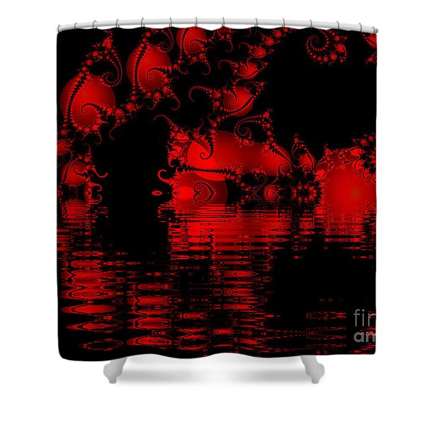 Red Lake Cave Fractal Shower Curtain
