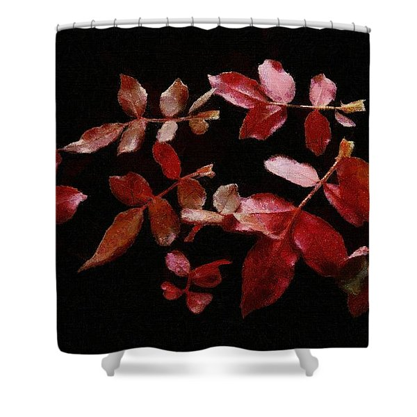 Red Leaves Shower Curtain by Jeff Kolker