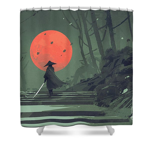 Shower Curtain featuring the painting Red Moon Night by Tithi Luadthong