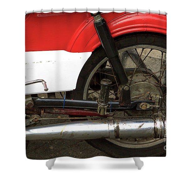 Red Motorbike Part II Shower Curtain