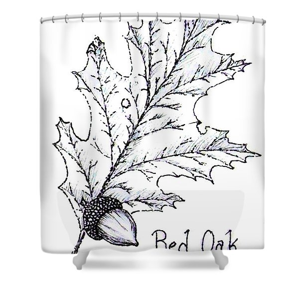 Red Oak Leaf And Acorn Shower Curtain