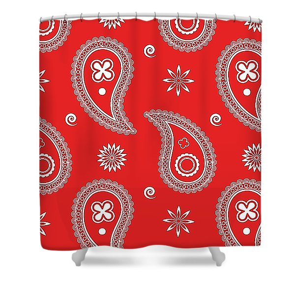 Red Paisley Shower Curtain