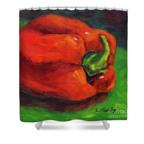 Red Pepper Still Life Shower Curtain