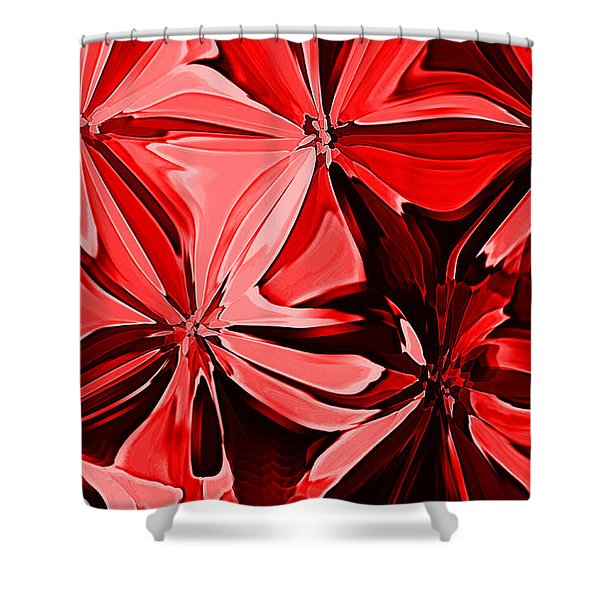 Red Pinched And Gathered Shower Curtain