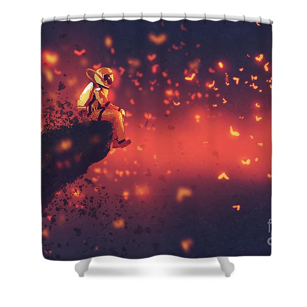 Shower Curtain featuring the painting Red Planet by Tithi Luadthong