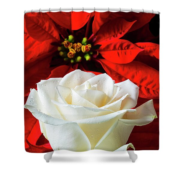 Red Poinsettia And White Rose Shower Curtain