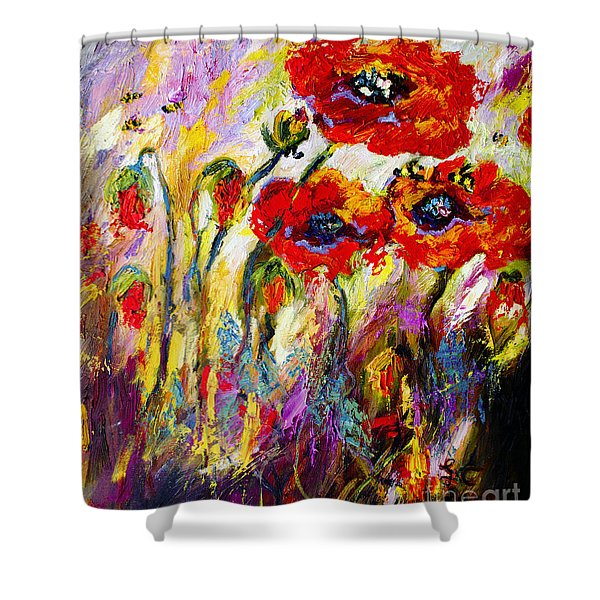 Red Poppies And Bees Provence Dreams Shower Curtain