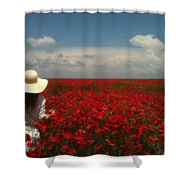 Red Poppies And Lady Shower Curtain