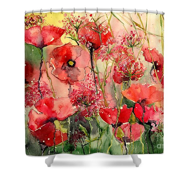 Red Poppies Wearing Pink Shower Curtain