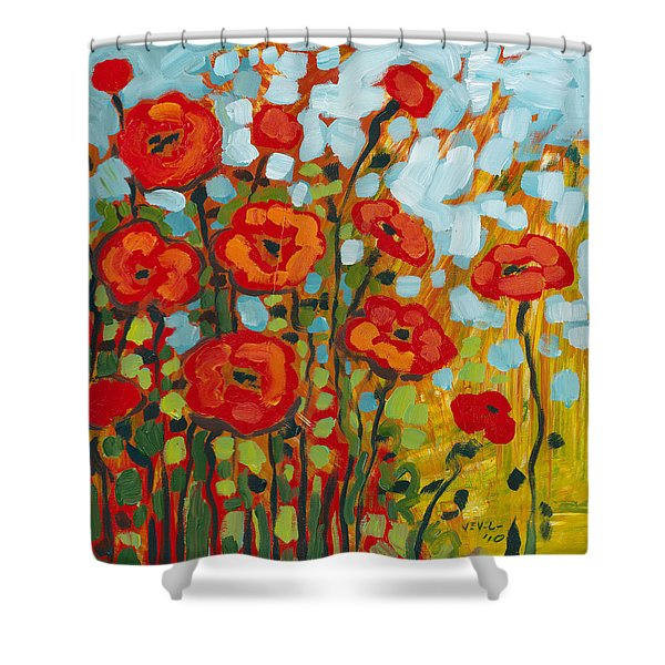 Red Poppy Field Shower Curtain