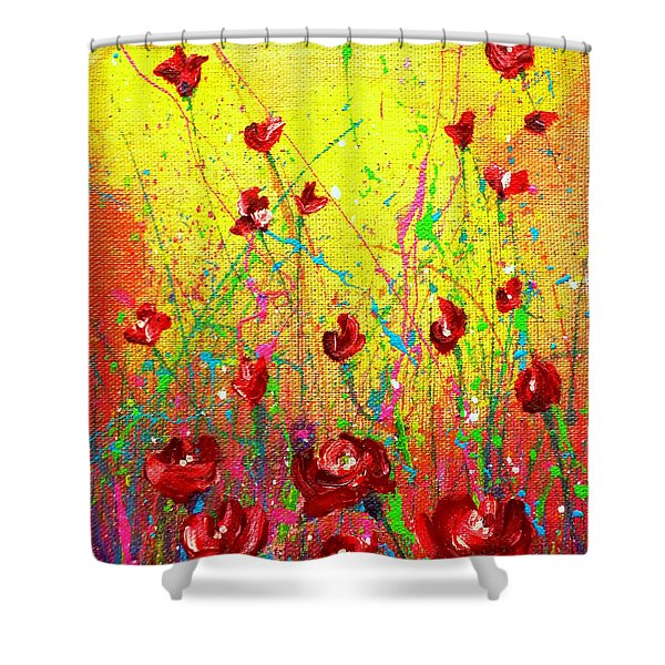 Red Posies Shower Curtain
