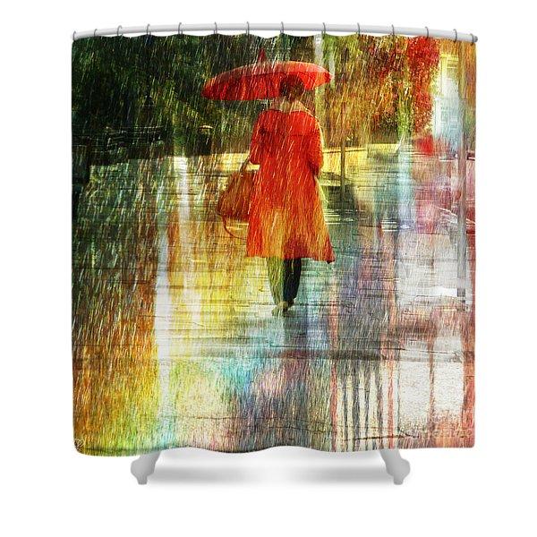 Red Rain Day Shower Curtain