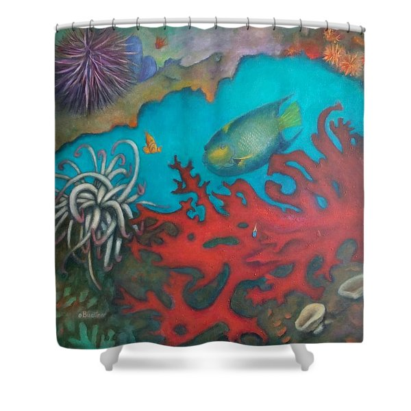 Shower Curtain featuring the painting Red Reef by Lynn Buettner