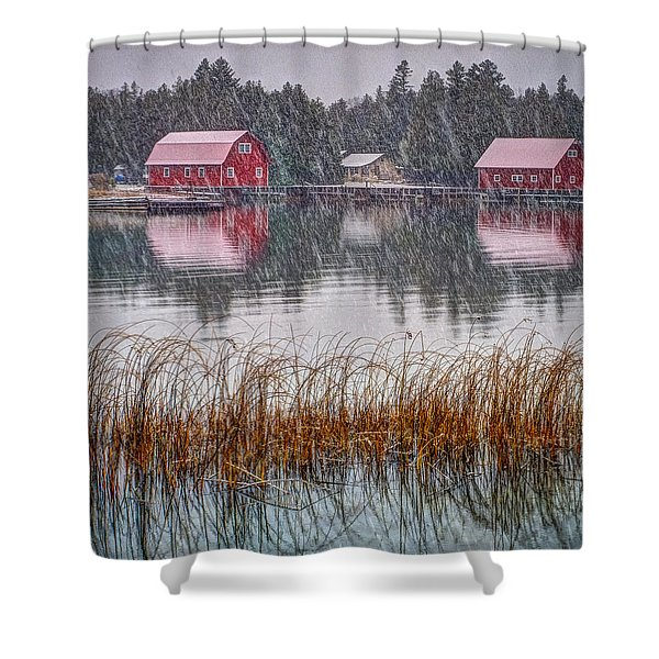 Red Reflection Shower Curtain