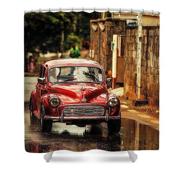 Red Retromobile. Morris Minor Shower Curtain