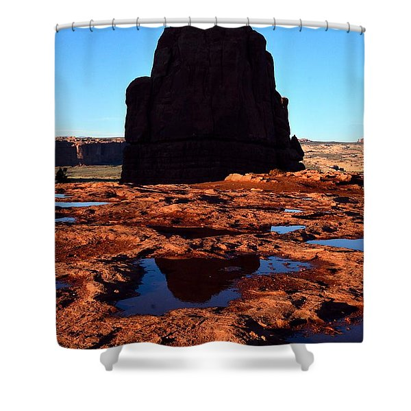 Red Rock Reflection At Sunset Shower Curtain