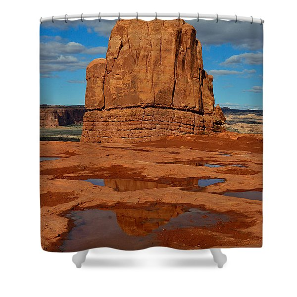 Red Rock Reflection Shower Curtain