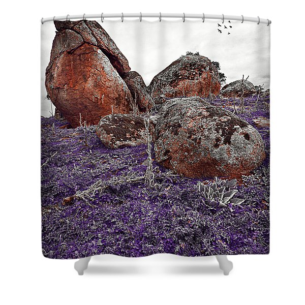 Red Rocks And Thunder Shower Curtain