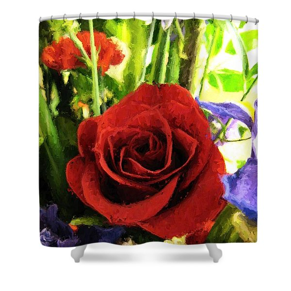 Red Rose And Flowers Shower Curtain