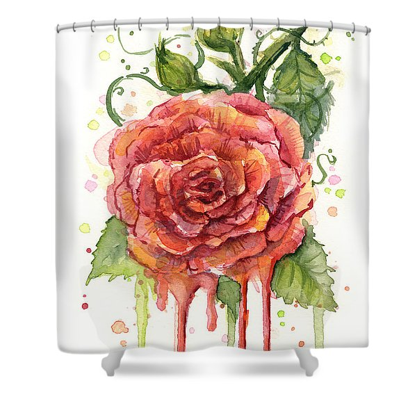 Red Rose Dripping Watercolor  Shower Curtain