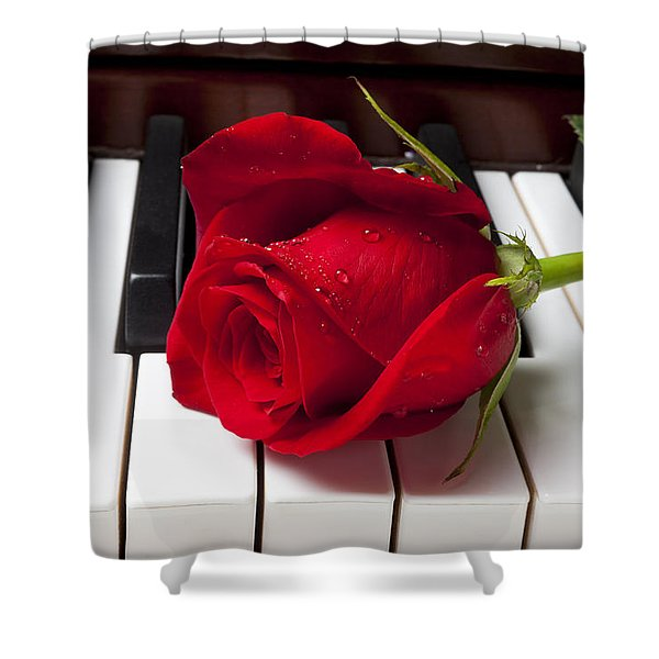 Red Rose On Piano Keys Shower Curtain