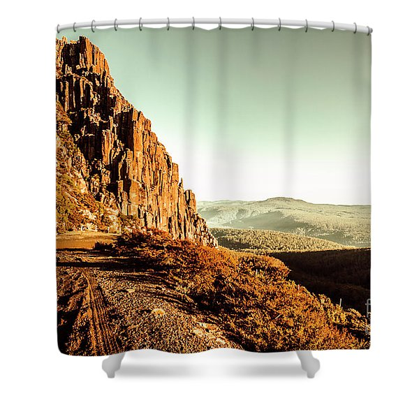 Red Rural Road Shower Curtain