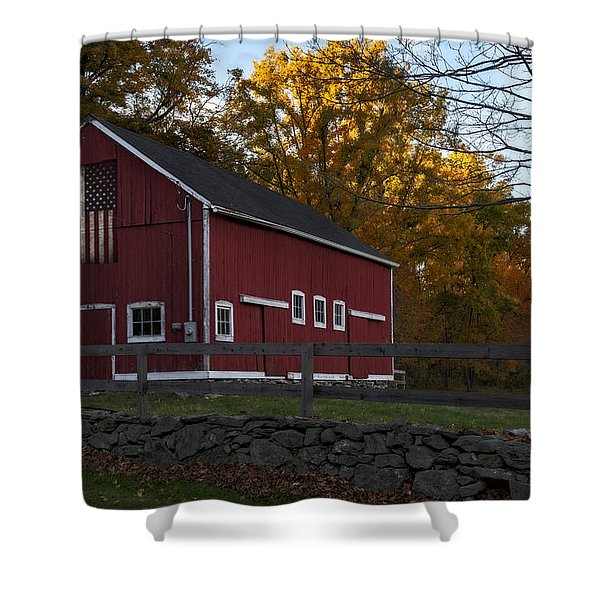Red Rustic Barn Shower Curtain