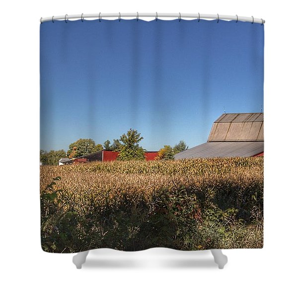 0042 - Red Saltbox Barn Shower Curtain