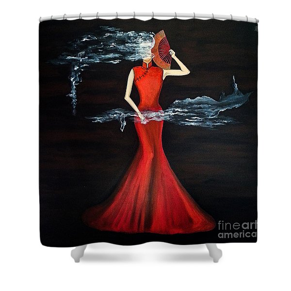 Scented Red Color Shower Curtain