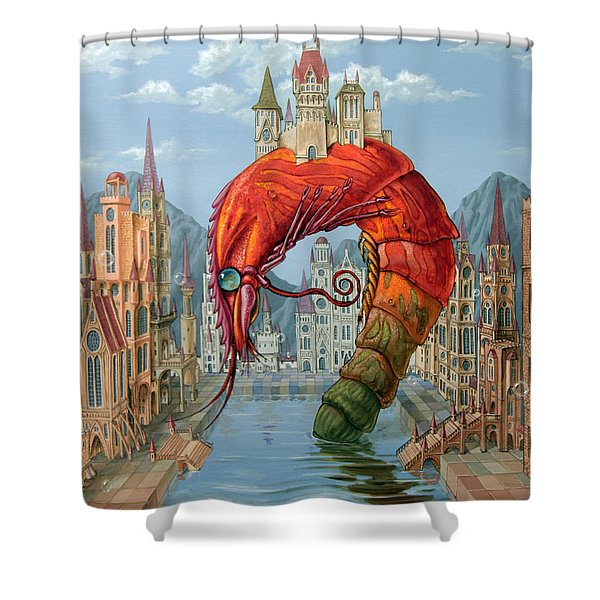 Red Shrimp Shower Curtain