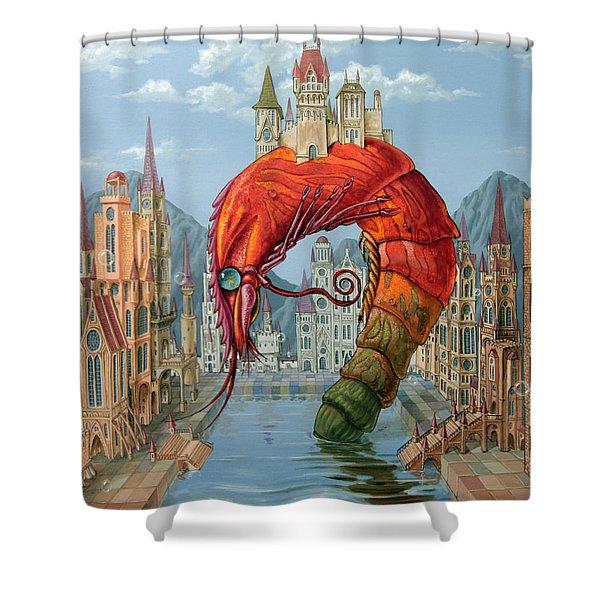 Red Shrimp Shower Curtain