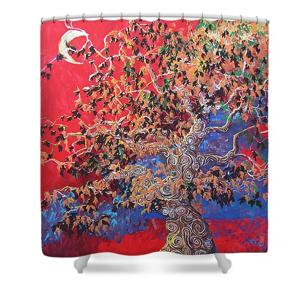 Red Sky And Tree Shower Curtain