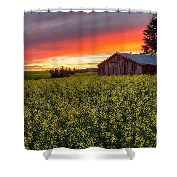 Red Sky Over Canola Shower Curtain