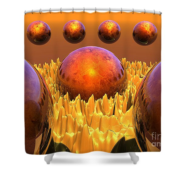 Red Spheres Shower Curtain