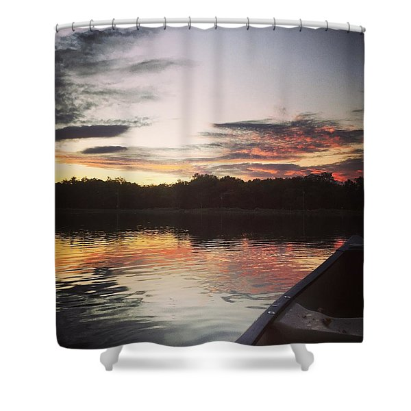 Red Spotted Sunset Shower Curtain