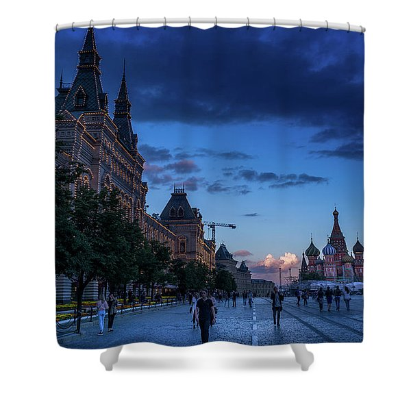 Red Square At Dusk Shower Curtain