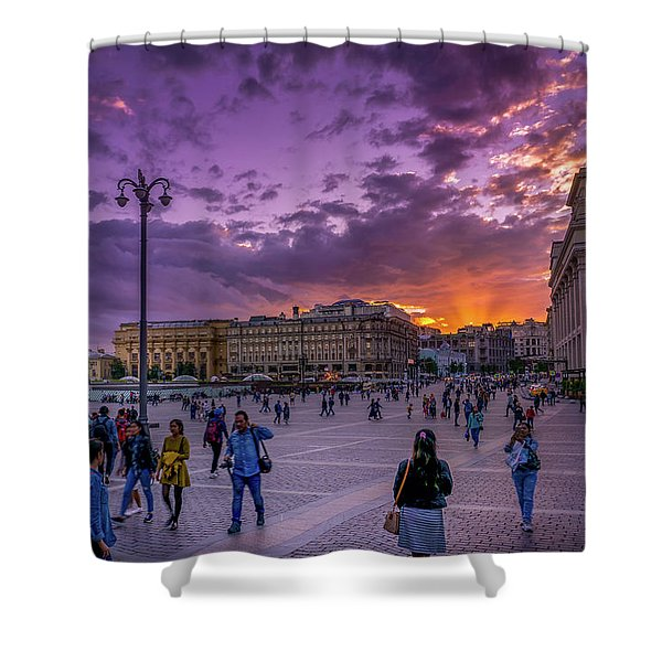 Red Square At Sunset Shower Curtain