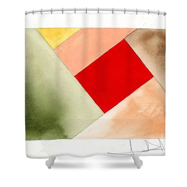 Red Square Tanned Shower Curtain