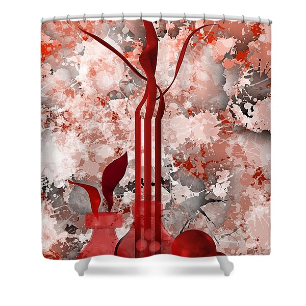 Red Stain Still Life Shower Curtain