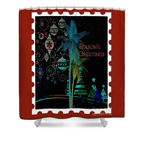 Red Stamp Shower Curtain
