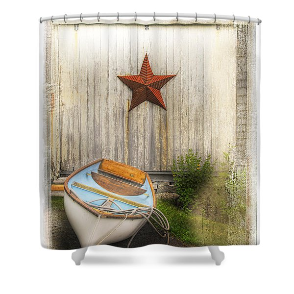 Red Star Boat Shower Curtain