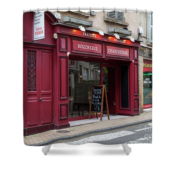 Red Storefront Shower Curtain