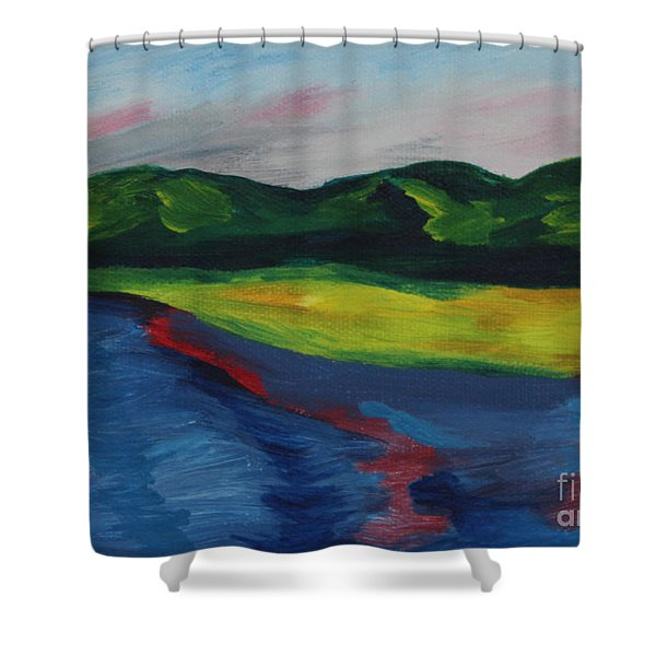 Red Streak Lake Shower Curtain