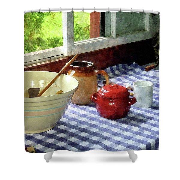Red Sugar Bowl Shower Curtain