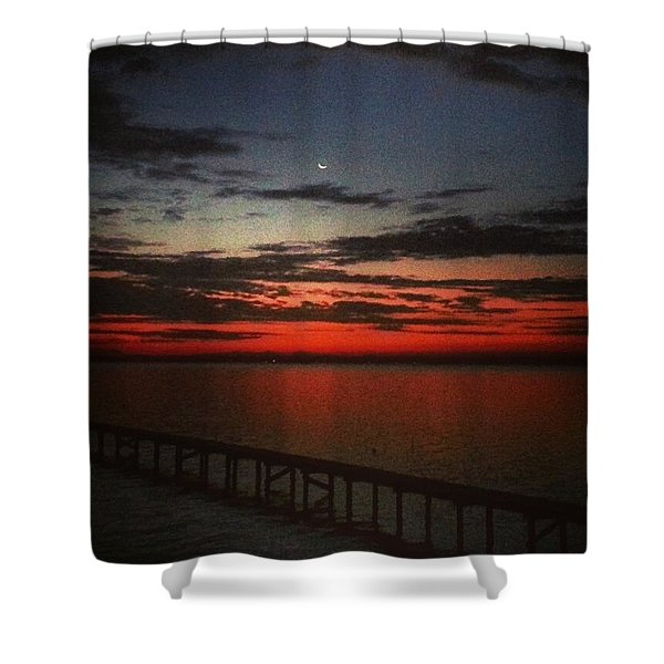 Red Sunrise On The St. Johns River Shower Curtain