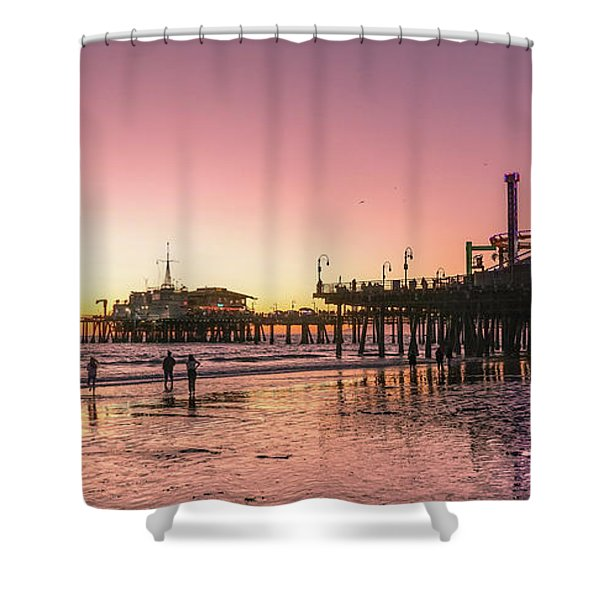 Red Sunset In Santa Monica Shower Curtain