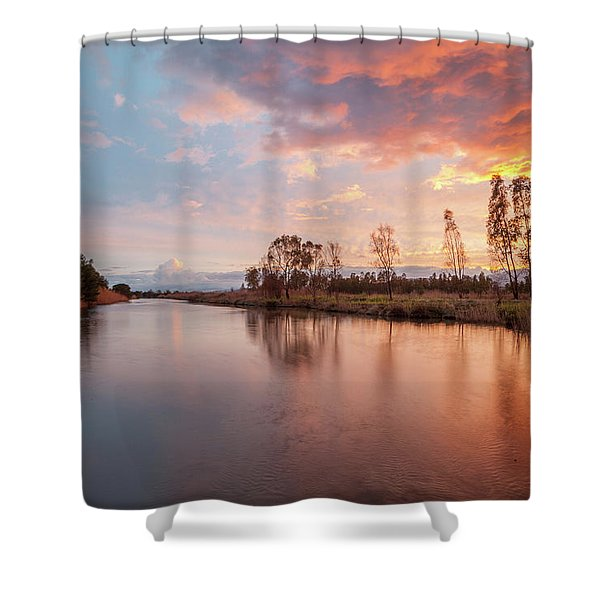Red Sunset On The Pond Shower Curtain