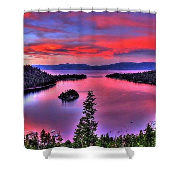Red Tahoe Shower Curtain