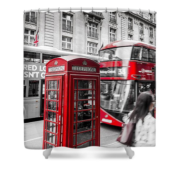 Red Telephone Box With Red Bus In London Shower Curtain